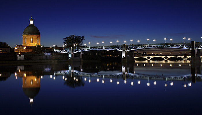 Garonne in Toulouse bei Nacht